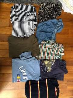 Tops and Crop Tops - Editors Market, Cotton On, Forever 21, H&M, Urban Outfitters, Universal Studios, Bershka and Korea