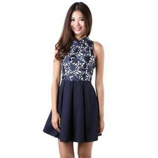 🚚 MGP loewe cheongsam dress in navy