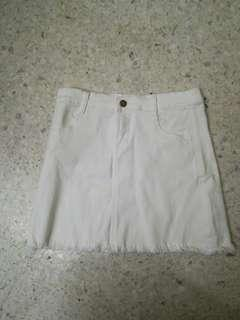 High waisted white denim skirt