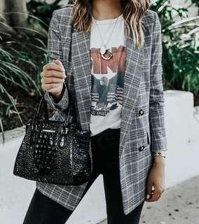 Oversized checkered blazer outerwear