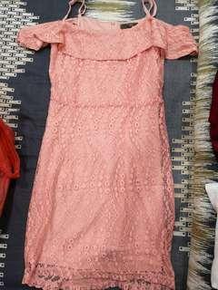 Off shoulder pastel lace dress