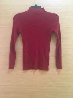 🚚 紅色薄針織上衣
