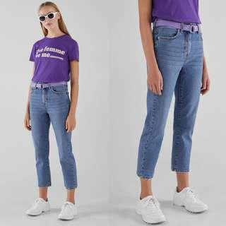 🚚 Bershka High waisted denim Straight fit jeans with belt