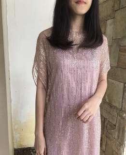 Dress Pesta Rose Gold Party Dress Tille Glitter Satin