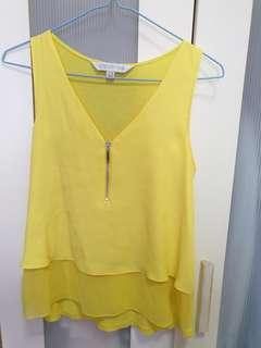 Forever New Yellow Chiffon Top