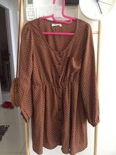 polka knee length dress