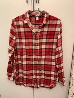 H&M 紅色格紋襯衫 (S - 小L)