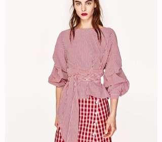 Zara stripes puffy sleeves blouse