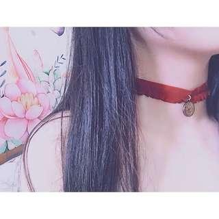 🚚 酒紅色復古暗黑⏱時鐘 頸鏈 鎖骨鏈 項鍊