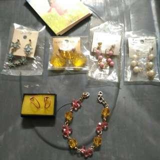 •售/換物可)全新 6對穿式垂墜耳環+2手成人手鍊 合售