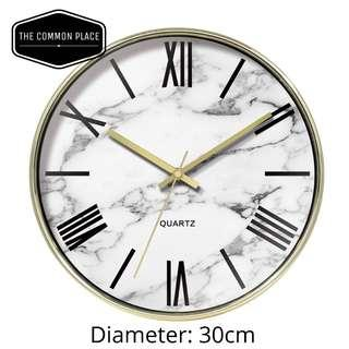 🚚 INSTOCK Classy Gold & White Marble Print Wall Clock