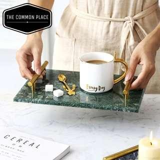 INSTOCK Emerald Green Marble Display Tray with Gold Handle