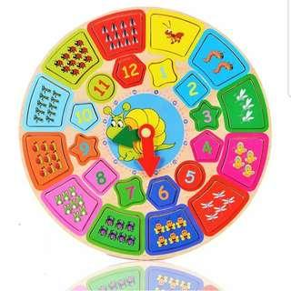 Wooden Clock Educational Puzzles Memory Training Numbers Counting Maths Teaching Tools Alphabets Words Game