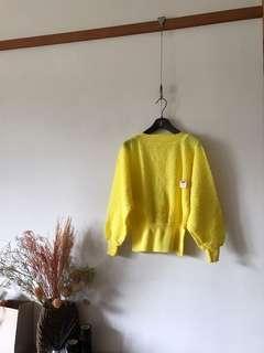 Vintage黃色捲捲毛上衣