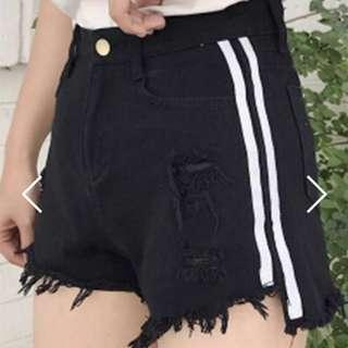 🚚 Black Ripped Shorts with White Stripes