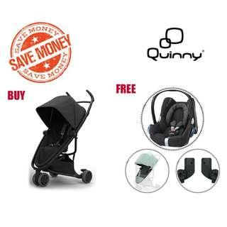 <GREAT DEAL FAST GRAB> Original Life Time Warranty Quinny Zapp Flex and get Maxi-Cosi CabrioFix + Quinny Raincover + Adapter for FREE, Limited Quantity !