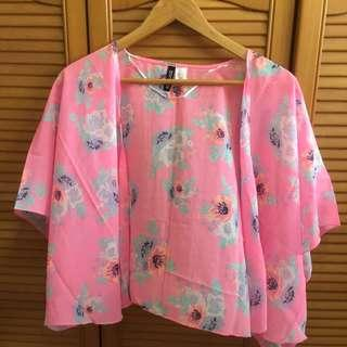Pink Floral Cardigan By HnM