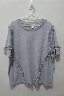 ZARA grey frill tshirt