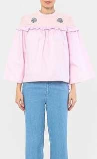 Schmiley Mo Shell Sheer Frilly Blouse in Light Pink