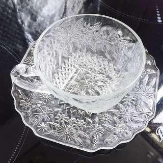 30年代美國製Indiana glass 古董初菊玻璃茶杯