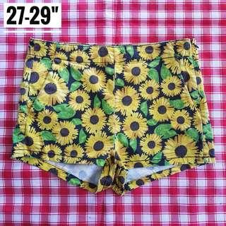 "27-29"" H&M Midwaist Sunflower Shorts"