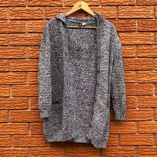 Divided hooded cardigan