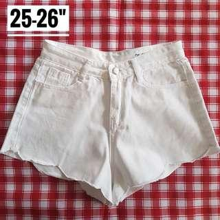 "25-26"" Topshop Inspired White Denim Shorts"