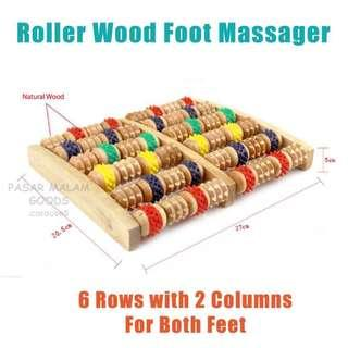 🚚 Instock BN Wooden Foot Massager with Roller Wheels Relax Massage Stress Relief Wood