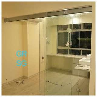 10mm clear tempered glass sliding partition