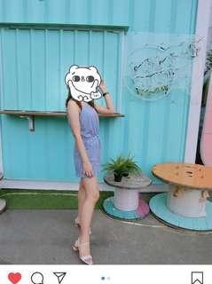 🚚 mercci22夏日消肩條紋連身褲#半價衣服市集