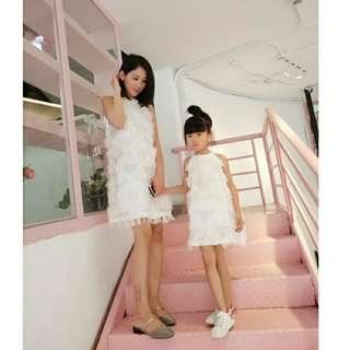 *FREE POST to West Malaysia only / Pre order +-12-15 days* Mother Daughter tassel dress each as shown in design /color pink, white. Free delivery is applied for this item.