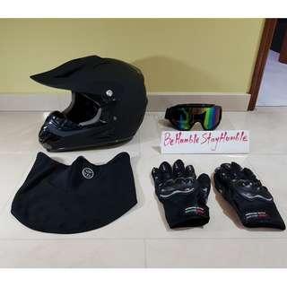 Matte Black Off Road Full Face Helmet Size M, L & XL