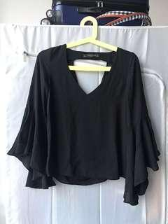 ZARA Backless Black Flare Top