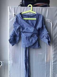 Zara Blue Striped Wrap Top