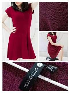 Mini Fit Maroon Dress