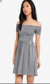 BNWT Smocked Gingham off shoulder dress