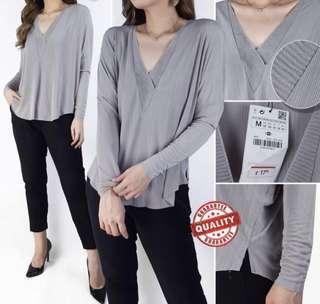 Zara Light Grey Cashmere V neck long sleeve blouse