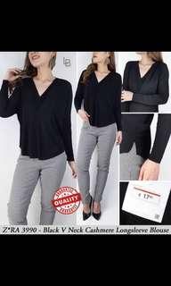 Zara Black Cashmere V neck long sleeve blouse