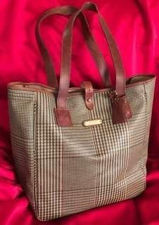 Polo Ralph Lauren Houndstooth Plaid Leather Tote Bag