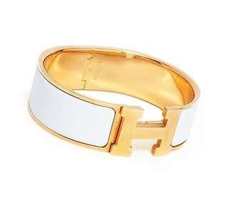 Hermes White Gold Bracelet