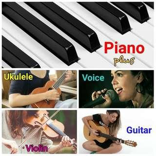 Piano plus ukulele voice violin guitar lessons