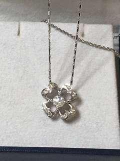 🚚 idea 八心八箭主鑽石0.33克拉小鑽石0.15克拉幸運草項鍊