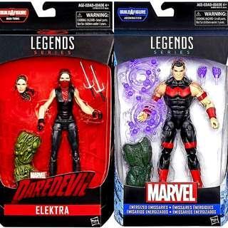 MISB Marvel Legends Daredevil Elektra, Wonder Man With Man-Thing Abomination Baf