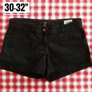"30-32"" H&M Midwaist Denim Black Shorts"