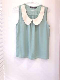 🚚 全新💟Queenshop湖水綠無袖雪紡上衣 #半價衣服市集