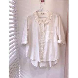 🚚 文青風🥤蕾絲領造型素面棉麻襯衫 #半價衣服市集