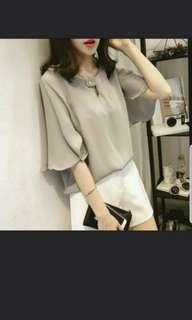 🚚 Korean fashion ruffle sleeve top(pink)
