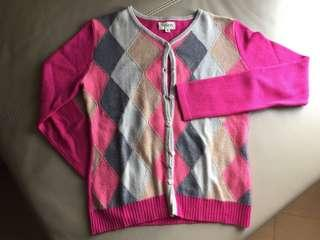 Cozzi - Argyle Long Sleeve Cardigan S Pink career diamond