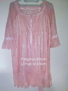 Reprice blouse peach model Korea