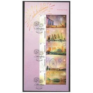 SINGAPORE 2019 CELEBRATIONS FIREWORKS & SKYLINE MYSTAMP SOUVENIR SHEET FIRST DAY COVER OF 5 STAMPS IN MINT MNH UNUSED CONDITION